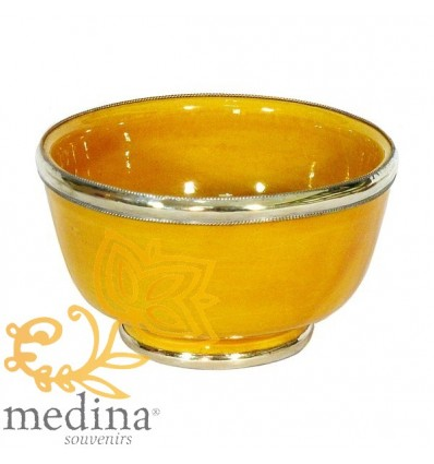 Moroccan enameled yellow bowl with stainless metal trim