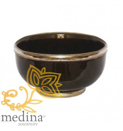 Moroccan enameled black bowl with stainless metal trim