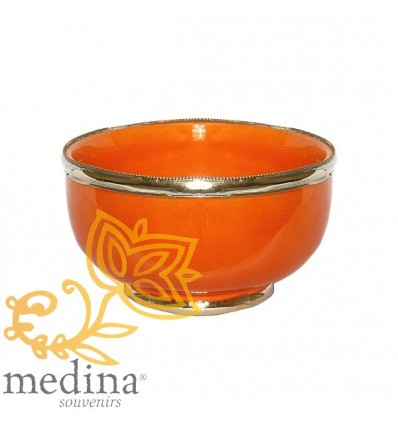 Moroccan enameled orange bowl with stainless metal trim