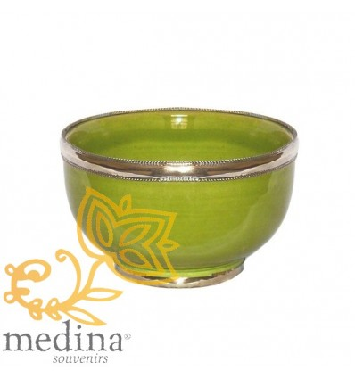 Moroccan enameled bowl in pistachio color with stainless metal trim