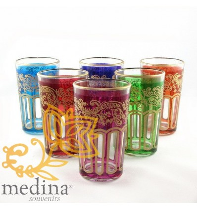 Multi-colored Fessi tea glasses