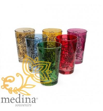 Multi-colored Moroccan tea glasses Nour model