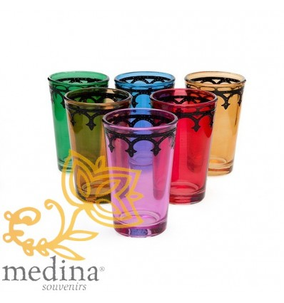 Multi-colored Moroccan tea glasses Arcades model