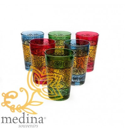 Colored tea glasses decorated with henna
