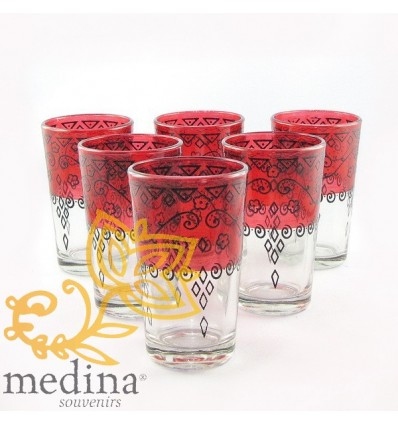 Red Celebration Moroccan tea glasses decorated with henna