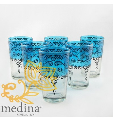 Blue Celebration Moroccan tea glasses decorated with henna