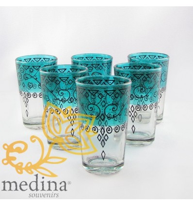 Green Celebration Moroccan tea glasses decorated with henna