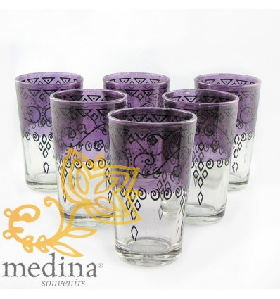 Purple Celebration Moroccan tea glasses decorated with henna
