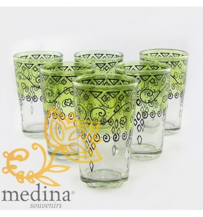 Pistachio Celebration Moroccan tea glasses decorated with henna