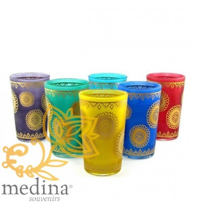 Moroccan colored tea glasses with silver banding