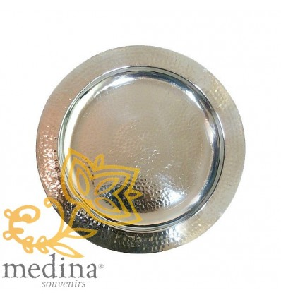 Hammered round silver tray
