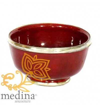 Moroccan enameled red bowl with stainless metal trim