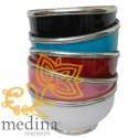 Moroccan enameled white bowl with stainless metal trim